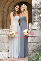2016 New Silver Grey Sweetheart Ruched Chiffon Long Bridesma...