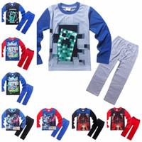 2016 Children pajamas Sets Cotton Cartoon Long sleeve Tops p...