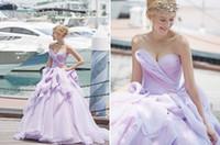 Light Purple Long Evening Dresses Sweetheart Pleats Ruffles ...