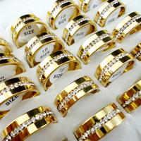 10pcs / Lot Femme Classique Bague de fiançailles de mariage zircon plaqué or en acier inoxydable 316L Anneaux Femme Bijoux Nouveau L067