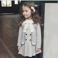 2016 Autumn Girls American Style Lace Stand Collar Cute Bow ...