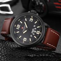 NAVIFORCE mira el reloj de cuero ocasional del reloj del cuarzo de los hombres Reloj militar del hombre del reloj de los hombres del reloj del relogio masculino