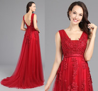 Fashion 2016 Elegant Long Evening Dresses Wear Applique Lace...