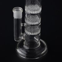 Crazzzy Price 38mm Tube 3 Clear Honey Comb Perc Disk Water Pipe Glass Bong Avec charge gratuite Matching Dry Bowl BestGlass S01