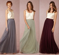 2016 New Vintage Two Pieces Long Tulle Bridesmaid Dresses Ro...