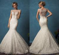 Amelia Sposa Mermaid Lace Wedding Gowns 2017 Sheer Neck Illu...