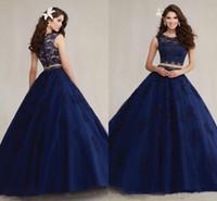 2016 Темно-синий Две пьесы Quinceanera платья Rhinestone бисером Принцесса бальное платье из органзы 16 Сладкий плиссе принцессы платье вечернее платье