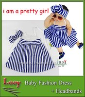 2016 Robe Stripe Fille Lovely Baby Robes d'été SIN + Bows Bandeau Fille Suspender Dress + Stripe Hairband Dress Fashion SIN filles Tissu