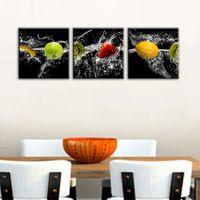 3 Панель холст картины Искусство Живопись Современная стены искусства живописи на холсте фрукты и вода Печать изображений Home Decor для столовой