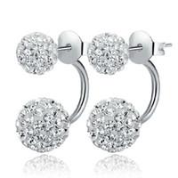 2016 Nouveau Belle Boucles d'oreilles Double Side, Boucles d'oreilles en cristal Fashion Disco Ball Shamballa perle pour les femmes en acier inoxydable