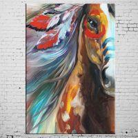Индийский лошадь, расписанную Современные Аннотация Животные Искусство Картина маслом, домашний декор Стена на High Quality Canvas в нестандартных размеров
