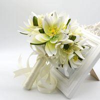 3 color Hand bouquet of flowers, beautiful bride wedding bou...