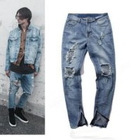 High Street Kanye West Retro Stretch Jeans Vintage Hole Jean...