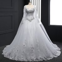Capped Long Sleeves Lace Tulle Wedding Dress With Crystal 20...