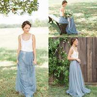 Мода Тюль сшитое Country Garden платье невесты Scoop A-линия Длинные горничной честь рюшами Дешевая 2016 года Bridesmaids мантия