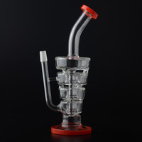 Hot Prix Sundae Stacks Glass Bong Water Pipe 4 Chammbers Filtre 265mm Hauteur Red Color Ring Avec Dome Nail BestGlass S08