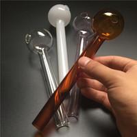 Grand blanc rose brun clair pyrex verre huile brûleur tuyau pour bong verre environ 7,3 pouces grand brûleur à huile tubes en verre