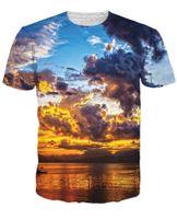 Wholesale- Sunset nebula t shirt 3d colorful print T- shirt me...