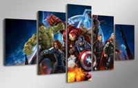 Бесплатная доставка 5 шт картина картина стены искусства комнаты декор печать плаката картина холст HD Printed Мстители Анимация