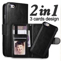 Pour iphone7 6 plus 2 en 1 aimant magnétique détachable amovible Porte-monnaie en cuir cas Rétro couverture iphone 7 SE galaxie bord S6 S7