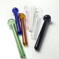 10cm pas cher verre à la main brûleur à mazout pour fumer tuyau de brûleur à mazout en verre pyrex avec 7 couleurs d'épaisseur barboteur de brûleurs à mazout