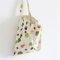Green Trees Printing Double Layers Cotton Linen Shoulder Bag...