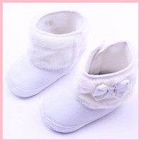 2016 New Baby Girls Boots White Bowknot Winter Soft Outsole ...