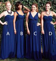 Темно-синий шифон невесты платья Конвертируемые Стили Sexy Backless Summer Beach Garden свадьба платья Длинные вечерние платья Вечерние