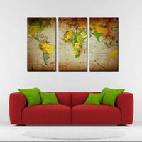 3 шт Brown Wall Art Живопись Слово Карта Печать на холсте Картина на карте Фотографии Для дома Современные отделочные печати Декор