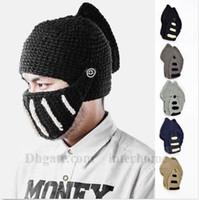 Unisex Roman Knight Helmet Beanie Handmade Knitted Beanie Wi...