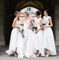 2017 New Design Hi- lo Bridesmaid Dresses Full Lace A Line Sl...