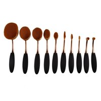 10pcs lot Rose Gold Brushes Tooth Shape Oval Makeup Brush Fo...