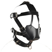 BDSM Sex Toys Black Leather Head Harness With Muzzle Leather...