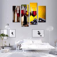 4 шт виноградного вина с чашкой стены искусства Картина Картина Печать на холсте еды картинки для домашнего декора украшения подарка