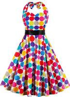 Радуга Dots Холтер ретро причинные платья 1950-х годов Одри Хепберн Стиль Rockabilly Женская одежда Короткие платья партии FS0256 Оптовая с Sash