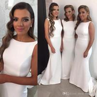 2017 Русалка White Satin Long плюс размер Дешевые Vintage девочки партия платья невесты выполненные на заказ платья выпускного вечера