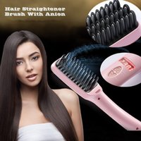 2 in1 Anion Straight Comb Auto LCD Brush Hair Straightener B...