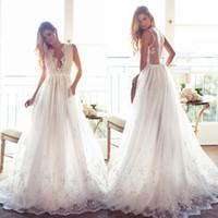 Illusion Plunging Neckline Backless Wedding Dresses Applique...