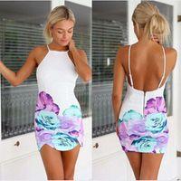Free shipping 2016 Fashion Women white print backless sexy d...