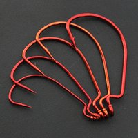Fishing Hooks Red Grey Crank Hook Lure Soft Bait Texas Rig F...