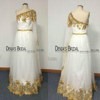 Реальные изображения 2014 Tulle Вечерние платья Вдохновленные Grecian Goddess одно плечо с длинным рукавом с золотом вышивки бисером Dyhz 01