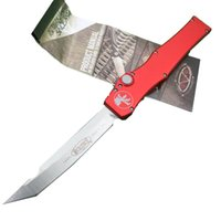 Red MICROTECH HALO V Stonewash Plain single action knife Tan...
