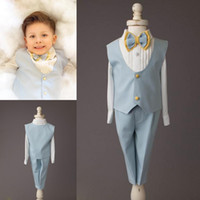 Custom Made Light Blue Boys Wedding Suit Three Pieces Peaked...