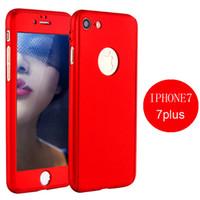 Pour iPhone 7 6 Plus 7plus Top qualité hybride en verre trempé 360 degrés Full Body Phone Case Cover Téléphone Shell iphone7 Skin
