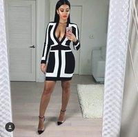 2016 new sexy women deep V neck Long sleeve bandage dress wh...