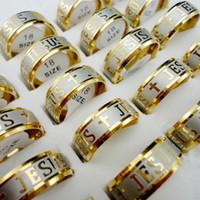 20Pcs Vente en gros d'or en acier inoxydable Jesus Cross Faith Anglicans Christian Prayer Ring Letter Bible pour les femmes Les hommes ne se fanent jamais L003