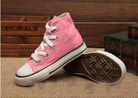 free shipping brand kids canvas shoes fashion high - low sho...