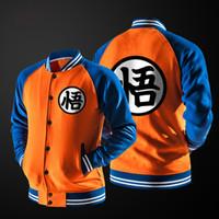 New Anime japonês Dragon Ball Goku Varsity Jacket Outono Casual Hoodie da camisola do revestimento do revestimento Jacket Marca Baseball