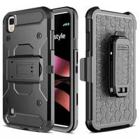 Полное тело телефон дела для LG X ТИП Дань HD LS676 Heavy Duty Прочный двухслойный кобура Пояс Поворотный зажим Kickstand Обложка