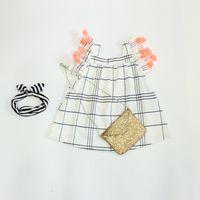 2016 Baby Girls Plaid Tassel Dresses Kid Girl Summer Cotton ...